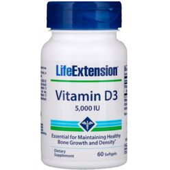 Life Extension Vitamin D3, 5000 IU, 60 kapslí