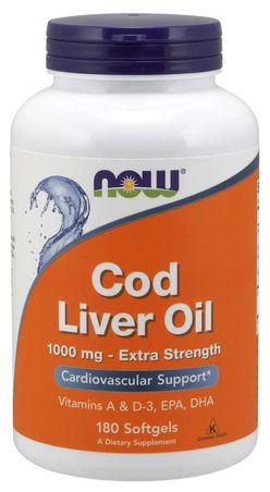 NOW® Foods NOW Cod Liver Oil (olej z tresčích jater), 1000 mg, 180 softgel kapslí