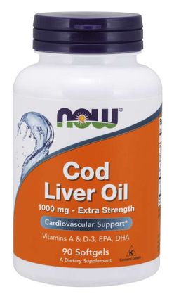NOW® Foods NOW Cod Liver Oil (olej z tresčích jater), 1000 mg, 90 softgel kapslí