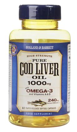 Holland & Barrett Holland&Barrett Cod liver oil (olej z tresčích jater), 1000 mg, 60 kapslí