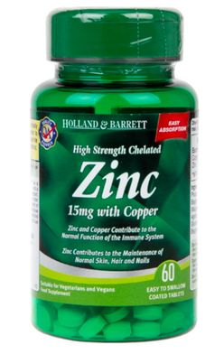 Holland & Barrett Holland&Barrett High Strength Chelated Zinc with Copper (Zinek v chelátové vazbě s mědí), 15 mg, 60 tablet
