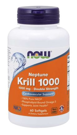 NOW® Foods NOW Krill Oil Neptune (olej z krilu), 1000 mg, 60 softgel kapslí