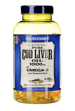 Holland & Barrett Holland&Barrett Cod liver oil (olej z tresčích jater), 1000 mg, 240 kapslí