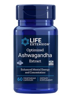 Life Extension Optimised Ashwagandha Extract, extrakt z Ashwagandhy, 60 rostlinných kapslí