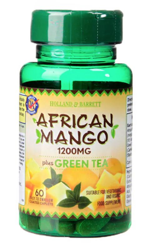 Holland & Barrett Holland&Barrett African Mango with Green Tea (Africké mango se zeleným čajem), 1200 mg, 60 kapslí
