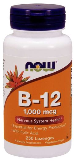NOW® Foods NOW Vitamin B12 with Folic Acid (Vit B12 a Kyselina listová), 1000 mcg, 250 pastilek