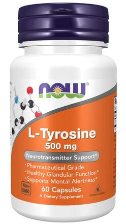 NOW® Foods NOW L-Tyrosine, 500 mg, 60 kapslí