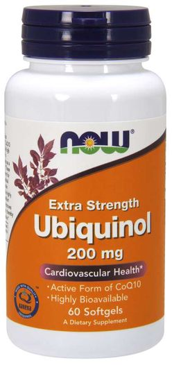 NOW® Foods NOW Ubiquinol Extra Strenght, Kaneka, 200mg, 60 softgel kapslí