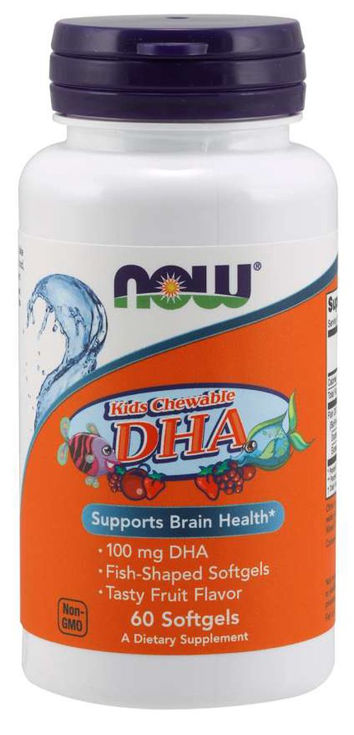NOW® Foods NOW DHA Kids Chewable (Omega-3), 100 mg, 60 žvýkacích kapslí