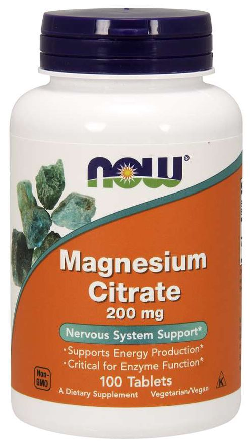 NOW® Foods NOW Magnesium Citrate (hořčík citrát), 200 mg, 100 tablet