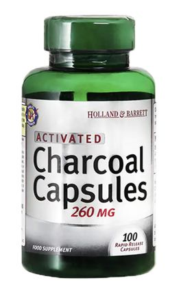 Holland & Barrett Holland&Barrett Activated Charcoal (aktivní uhlí), 260 mg, 100 kapslí