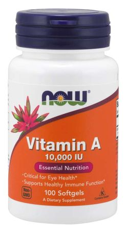 NOW® Foods NOW Vitamin A, 10000 IU, 100 softgelových kapslí